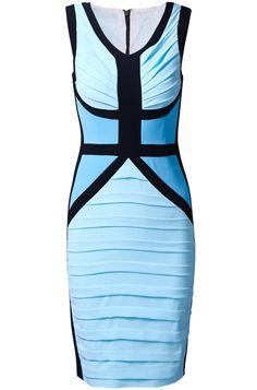 Blue V Neck Sleeveless Contrast Trims Bodycon Dress