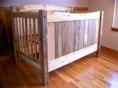 Beetle Kill Pine Baby Crib 3-in-1 : This crib changes into a toddler bed, then a full size bed.   $850