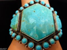 ANTHONY SKEET NAVAJO TURQUOISE CUFF BRACELET MODERN BLUE GREEN HANDMADE SILVER