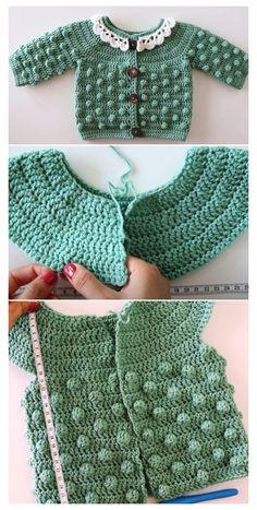 Crochet Baby Cardigan Free Pattern, Crochet Baby Jacket, Crochet Baby Sweaters, Baby Sweater Patterns, Knitted Baby Cardigan, Baby Girl Crochet, Crochet Baby Clothes, Baby Knitting, Crochet Baby Stuff