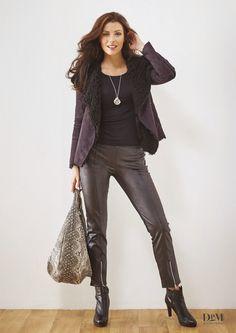 Manteau court.Pantalon zip jambe,simili cuir