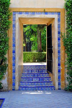 Beautiful Seville in Spain. I saw my first Flamenco show in this city. I remember the blue tile work everywhere. Places Around The World, Oh The Places You'll Go, Around The Worlds, Granada, Spain Travel, Croatia Travel, Hawaii Travel, Italy Travel, Blue Tiles