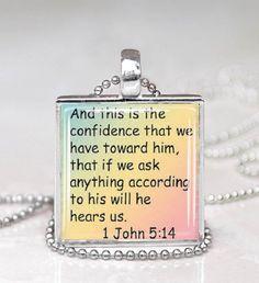 Bible Verse Necklace  1 John 5:14 by DesignsofFaithandJoy on Etsy