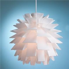 Mod Euro White Supernova Chandelier Add a burst of mod style with this sleek white artichoke shaped chandelier. Made out of polypropylene, this unique modern piece can be hung alone or in multiples Office Lighting, Cool Lighting, Interior Lighting, Modern Lighting, Hallway Lighting, Bedroom Lighting, Lighting Ideas, Interior Ideas, Interior Decorating