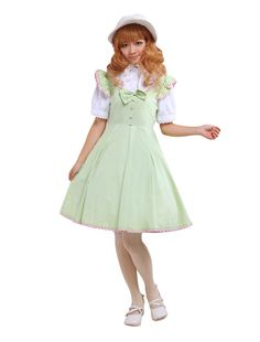 AvaLolita Ruffle Sleeve Green School Lolita Dress with Bow, XXL