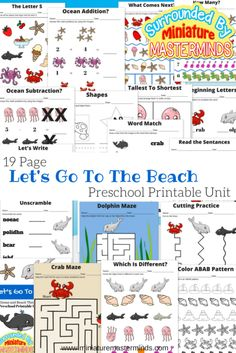 19 Page Preschool Printable Unit Let's Go To The Beach Ocean and Beach Themed Pack