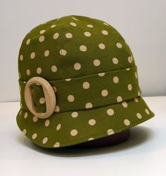 Cloche Hat Olive Polka Dot Linen with Vintage by HatsWithAPast