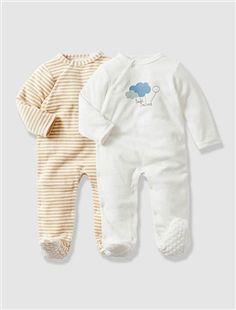bébé grandir NB cool singe bleu Nouveau bébé velours Sleepsuit 6 mois blanc