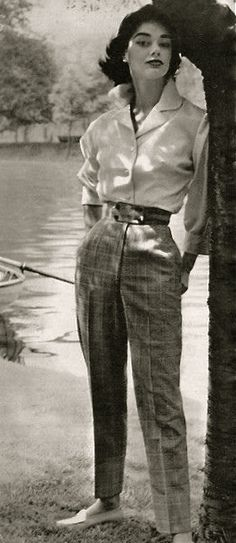 1955 - slim trousers, men's style shirt, small waist, moccasin style shoes