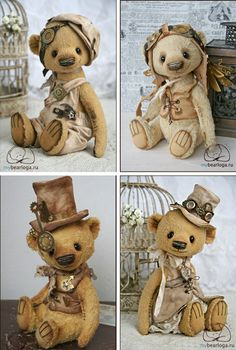 Steampunk Teddybears by Elena Kamatskaya - lots more at the link! I want one of these SP