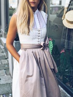 """Dirndl Hedi Sheer Pink-Dirndl Hedi Sheer Pink Mondays are made for dirndl. 🌾🎡Psst 🤫 Hedi """"Sheer Pink"""" in a combination of cream and rosé is also the perfect choice for all brides. Office Outfits, Outfits For Teens, Vintage Fashion 1950s, Glamorous Dresses, Scene Hair, The Dress, Aesthetic Clothes, Spring Outfits, High Waisted Skirt"""