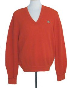 Lacoste 70s Red Sweater by Nelda's Vintage Clothing