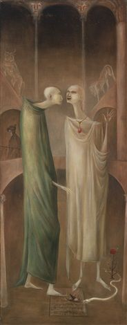 Leonora Carrington:  The Magus Zoroaster meeting his own image in the garden (Brothers in Babylone) 1960