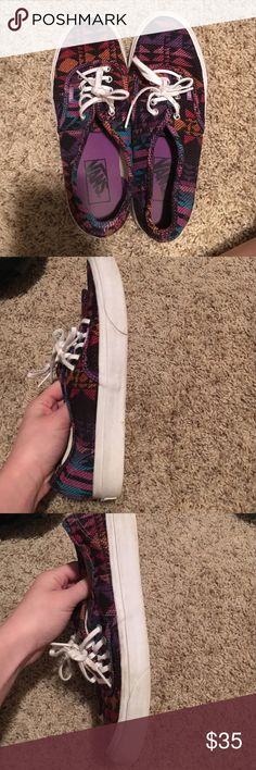 Vans Tribal print vans women's size 7.5. Really good condition. Some slight discoloration on the white but nothing major. Very clean still and the colors are bright. From a smoking and pet home Vans Shoes Sneakers
