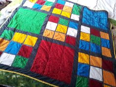 finished rubiks cube inspired quilt