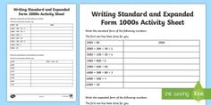 Writing Standard and Expanded Form 1000s Activity Sheet-Australia - expanded form, simple form, expanded, place value, hundreds, tens, ones, units, ten thousands, numbe