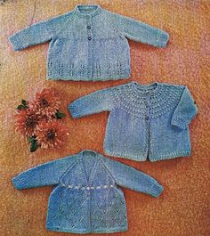 three designs baby matinee coat  20 - 22 inch chest size  double knitting wool  PDF Instant download
