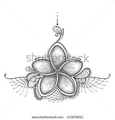 Dotted flower of Plumeria or Frangipani in black with decorative lace isolated…
