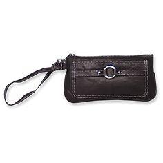 Black Leather Wristlet