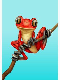 Printable Postcard Encouragement Quote Tree Frog Art Print in various postcard sizes