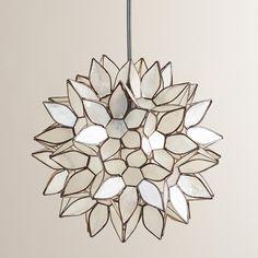 Small Capiz Lotus Hanging Pendant Lantern | World Market