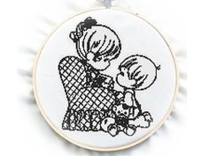 Sweet Scene Cross Stitch Pattern No.100 Blackwork by GreatHome, $3.00