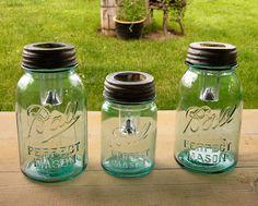 Mason Jar Solar Lights / 3 Qt Size Blue Mason by 3x1vintage, $55.00