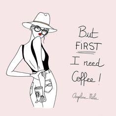 Bon lundi a tous ☀️ #angelinemelin #drawing #illustratrice #butfirstcoffee #ineedcoffee
