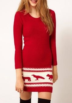 AWESOME Red Sweater Dress! Great with leggings or with tall boots! Long Sleeve Red Knit Dress #red #sweater #dress