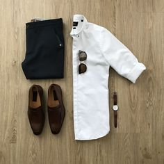 Men's Fashion - Summer Outfit Ideas For Men Looks) – White Shirt Outfits, White Shirt Men, Cool Outfits, Casual Outfits, Men Casual, Casual Styles, Casual Wear, Jean Outfits, Stylish Mens Fashion