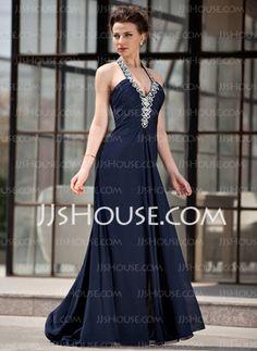 A-Line/Princess Halter Sweep Train Chiffon Evening Dress With Ruffle Beading (017022927) - JJsHouse