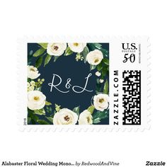 Alabaster Floral Wedding Monogram Postage Finish your invitation envelopes with these elegant botanical wedding postage stamps featuring your initials encircled by lush watercolor green foliage and white rose and peony flowers against a rich navy blue background. Coordinates with our Alabaster floral wedding collection.