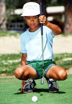 Six-year-old Tiger Woods sizes up a putt at Los Alamitos Country Club in Sept. 1982. Woods is hoping to capture his 15th major championship this weekend at the PGA Championship in Kiawah Island, S.C. (AP)  LIVE BLOG: Follow all the action at the PGA ChampionshipMORFIT: Tiger needs to prove No. 1 goal is still possibleGALLERY: Tiger Woods - The College Years