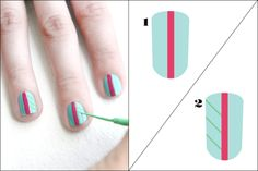 3 Rockin' Coachella-Worthy Nail-Art DIYs #refinery29  http://www.refinery29.com/coachella-nail-art-designs#slide10  Start off by painting all of your nails with the aqua polish. Use a nail-art brush to paint a thick fuchsia stripe down the center of each nail. Dip your nail-art brush in the green polish and paint three or four (depending on how many fit) evenly-spaced, diagonal lines on the left side of each nail.    Photographed by Laura Miller