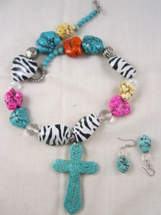 Chunky Colorful Zebra Acrylic Bead Magnesite Cross Necklace Set