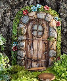 Fairy Garden Stone Door Tree Accent
