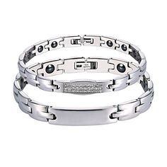 Jewelry Ace(TM) Titanium Magnetic Therapy Link Couple Bracelet (Anti-fatigue  Anti-radiation) ** You can get additional details at the image link.