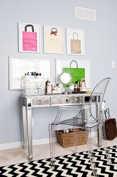 Cute make up station on mirrored desk ghost chair and zig zag rug - Via madebygirl.