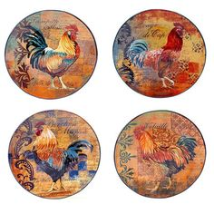 Certified International Rustic Rooster 4-pc. Dinner Plate Set, Multicolor