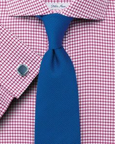 Classic fit non-iron cutaway collar basketweave check raspberry shirt