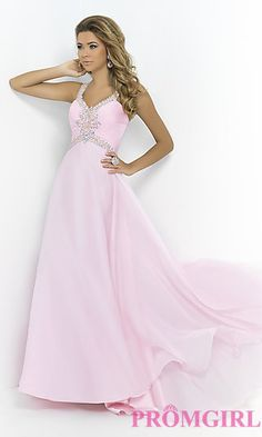 Long Prom Gown with Beading by Blush 9989 at PromGirl.com