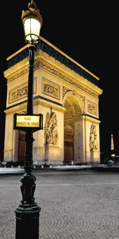 A notable landmark in Paris, the Arc de Triomphe stands at the west end of the Champs-Élysées, construction began August -Inaugurated July 29 1836 honors those who fought in French Revolution and Napoleonic wars. Paris At Night, Paris Travel, France Travel, Places To Travel, Places To Visit, Paris Poster, Ville France, Triomphe, Paris Love