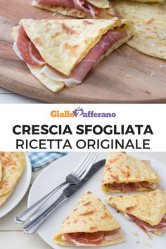 The crescia sfogliata is a traditional preparation typical of Umbria and the Marches: similar to a piadina, but with a delicious puff pastry, the crescia can be filled with salami, vegetables and sauces, for a perfect street food! Chapati, Tortillas, Light Recipes, Wine Recipes, Gelato, Italian Street Food, Cooking Bread, Italian Appetizers, Food Places