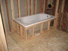 Super tub to shower remodel diy upstairs bathrooms Ideas Shower Remodel, Tile Tub Surround, Trendy Bathroom, Drop In Bathtub, Bathtub Remodel, Diy Bathroom Remodel, Bathroom Renovations, Bathrooms Remodel, Bathtub