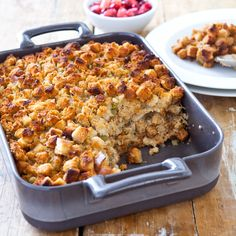 Classic Thanksgiving Stuffing — fuss-free and crisp in all the right places We're thrilled to bring you kitchen wisdom from our friends at America's Test Kitchen. They're sharing a fuss-free Thanksgiving stuffing recipe that's bound to Easy Stuffing Recipe, Stuffing Recipes For Thanksgiving, Thanksgiving Menu, Holiday Recipes, Holiday Foods, Thanksgiving Dressing, Fall Recipes, Make Ahead Stuffing, Homemade Stuffing