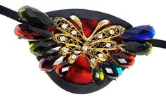 Eye Patch Rainbow Jeweled Butterfly Victorian Steampunk Pirate Fantasy Fashion