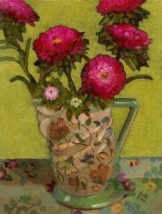 "Daily Paintworks - ""Asters In Jug"" - Original Fine Art for Sale - © Angie Wood Flower Vases, Flower Art, Oil Pastel Paintings, Flower Paintings, Acrylic Painting Techniques, Primitive Folk Art, Painting Still Life, Plant Art, Art Sites"