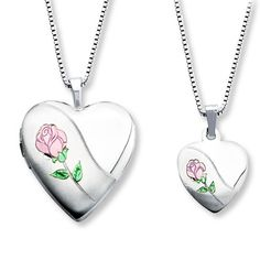 Mother/Daughter Necklaces Heart with Rose Sterling Silver