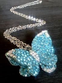 Gorgeous Aqua Crystal Butterfly Necklace.