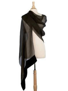 Luxurious formal silk organza stole with a silk velvet border.The perfect finishing accent to your ensemble. Hand Made in Como, Italy An Elizabetta Exclusive